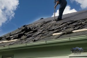 clearing off roof shingles